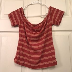 Brick red striped strapless top